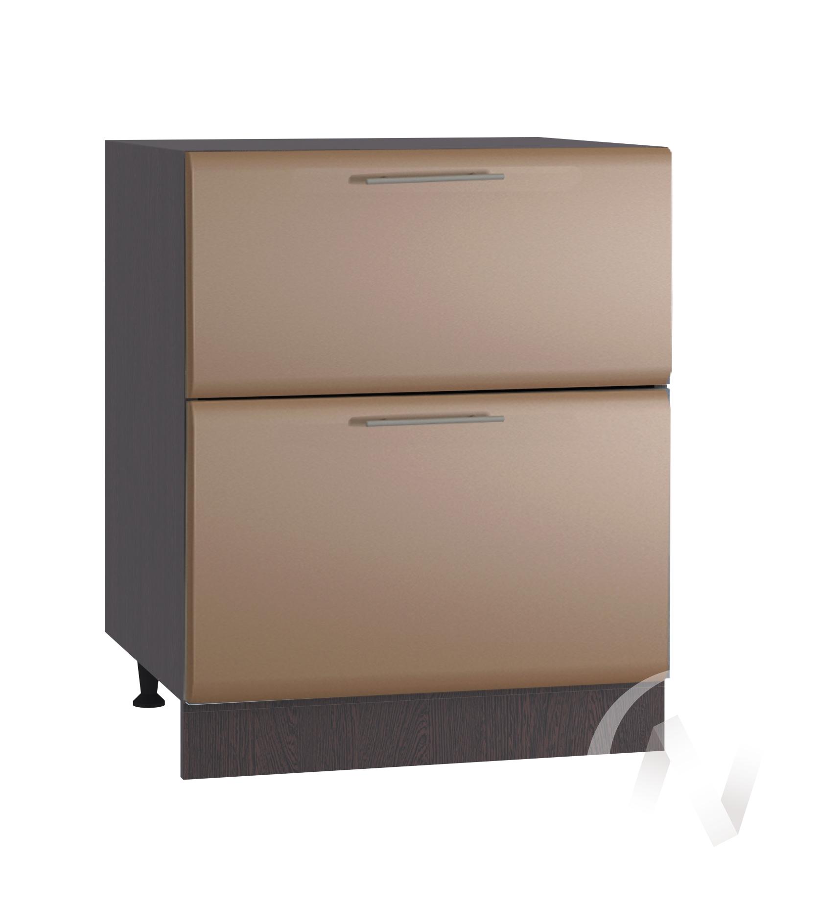 """Кухня """"Люкс"""": Шкаф нижний с 2-мя ящиками 600, ШН2Я 600 (Шоколад матовый/корпус венге)"""