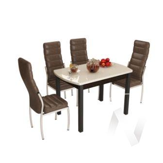 Стол обеденный Бостон-3 (металл черный/кремовый гранит)