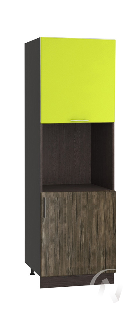 "Кухня ""Норден"": Шкаф пенал 600, ШП 600 (старое дерево/лайм глянец/корпус венге)"