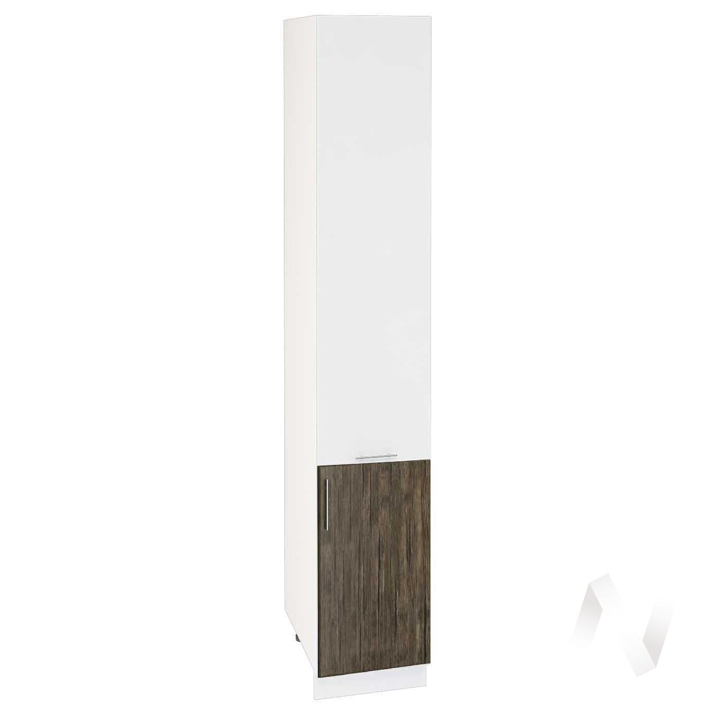 """Кухня """"Норден"""": Шкаф пенал 400Н, ШП 400Н (старое дерево/белый глянец/корпус белый)"""