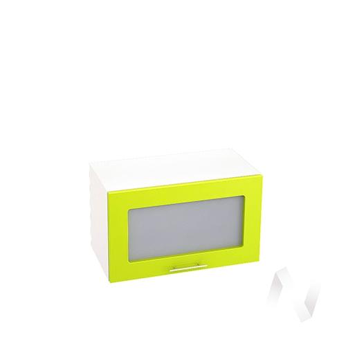 """Кухня """"Валерия-М"""": Шкаф верхний горизонтальный со стеклом 600, ШВГС 600 (лайм глянец/корпус белый)"""