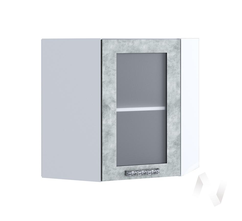 """Кухня """"Лофт"""": Шкаф верхний угловой со стеклом 590, ШВУС 590 (Бетон серый/корпус белый)"""