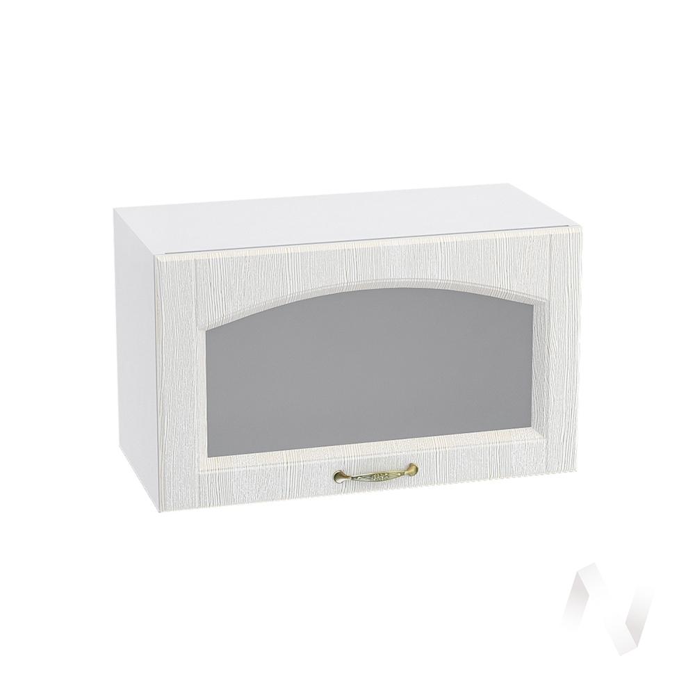 """Кухня """"Верона"""": Шкаф верхний горизонтальный со стеклом 600, ШВГС 600 (ясень золотистый/корпус белый)"""