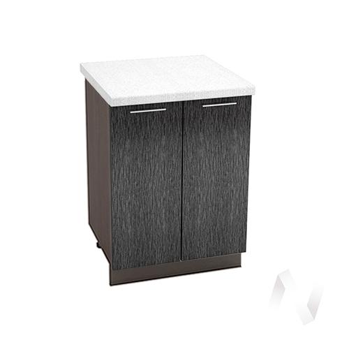 """Кухня """"Валерия-М"""": Шкаф нижний 600, ШН 600 (дождь черный/корпус венге)"""