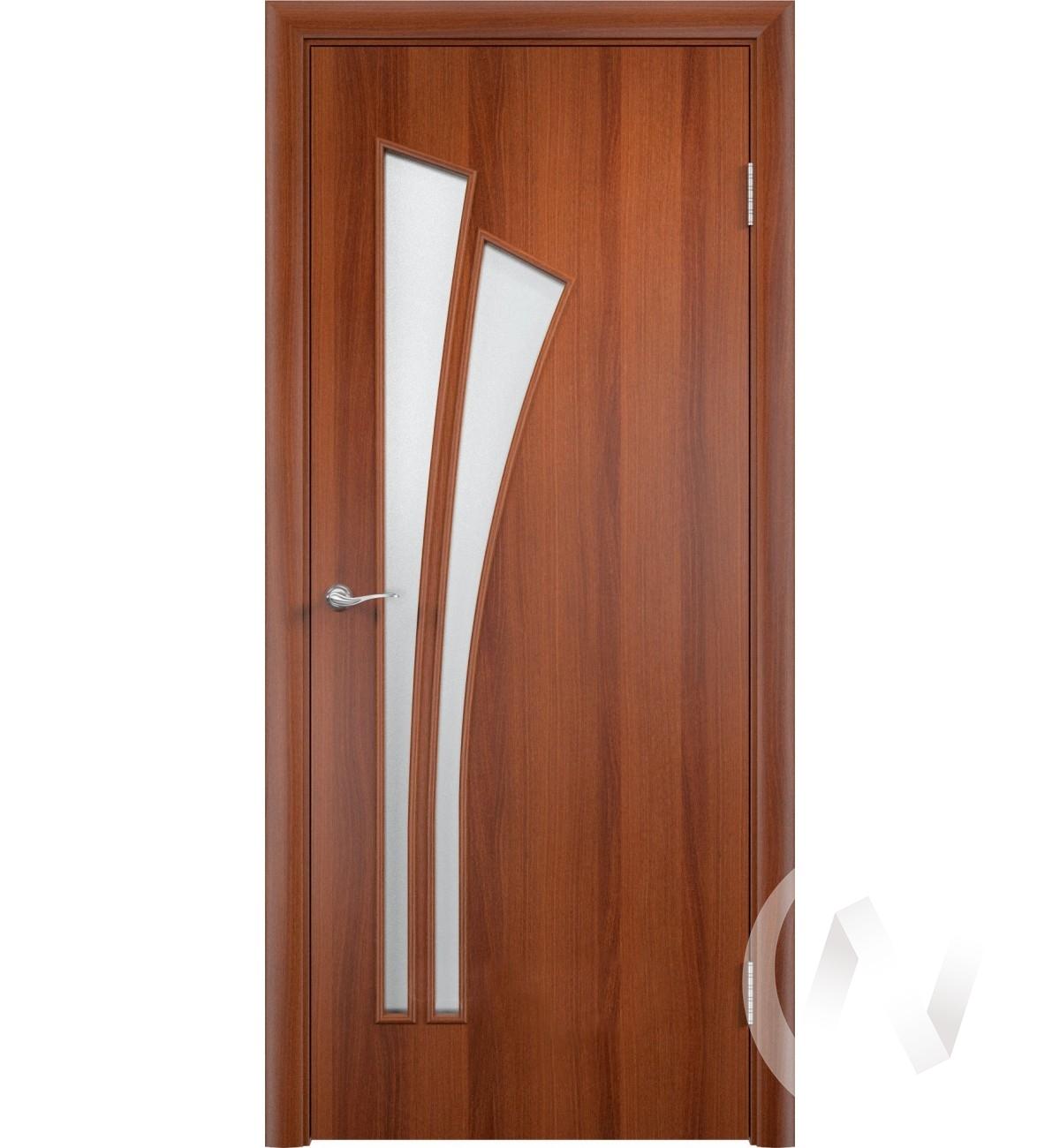 """Дверь ламинированная Тип """"Лагуна"""", 60, ост, итальянский орех, стекло матовое"""