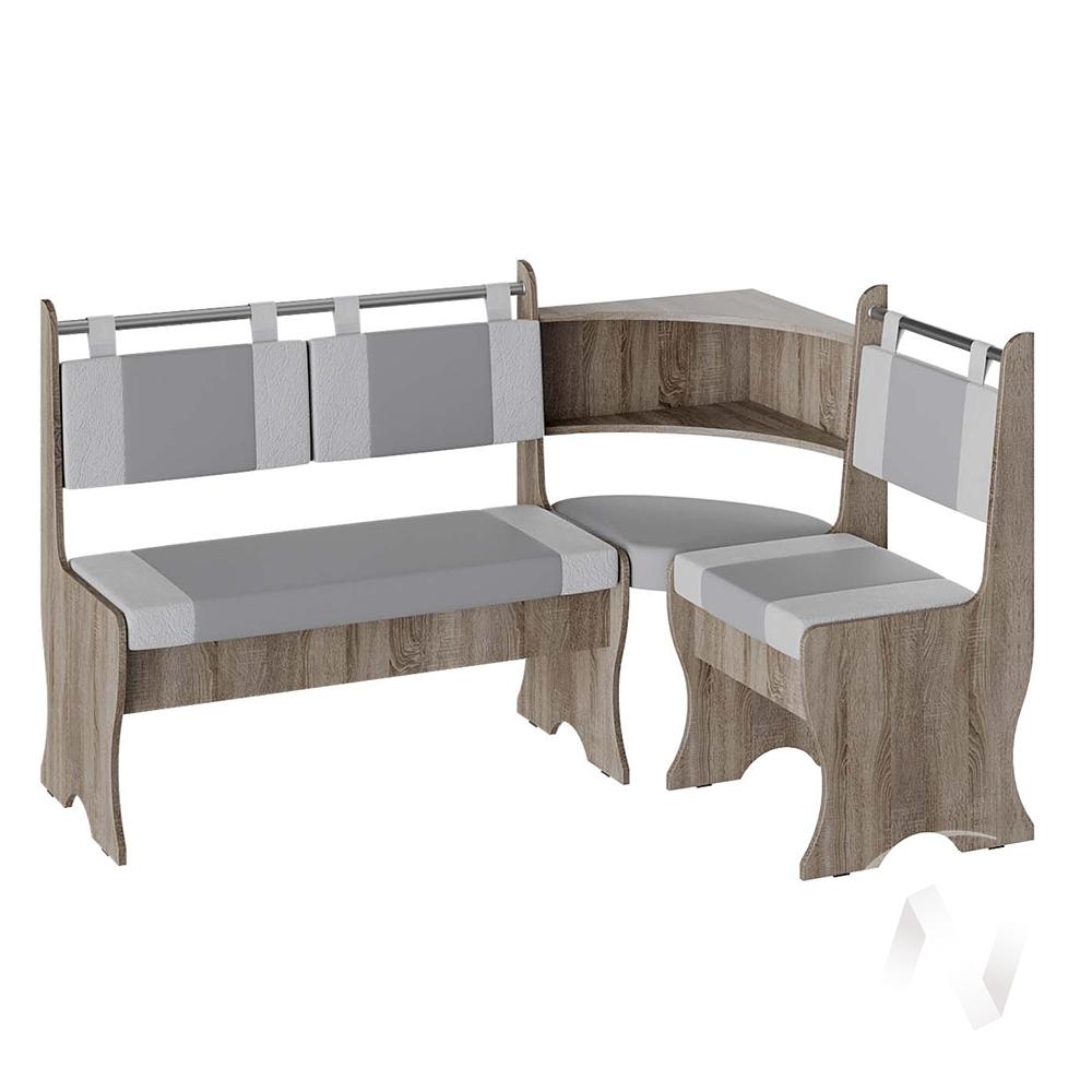 Скамья угловая Дельта кожзам (дуб сонома трюфель/серый,белый)  в Томске — интернет магазин МИРА-мебель