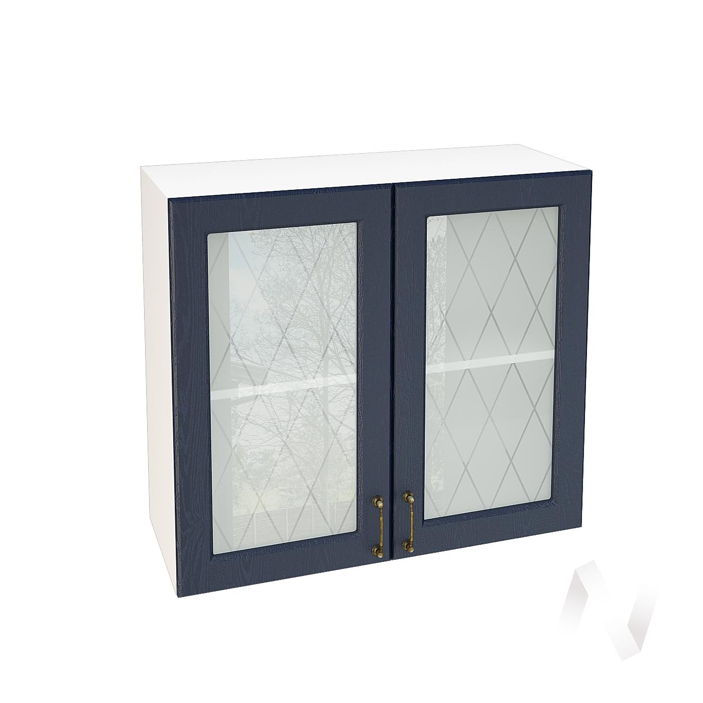 """Кухня """"Ницца"""": Шкаф верхний со стеклом 800, ШВС 800 (Дуб чернильный/корпус белый)"""