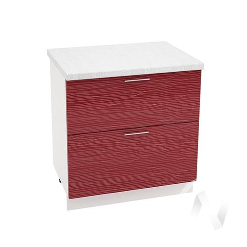 """Кухня """"Валерия-М"""": Шкаф нижний с 2-мя ящиками 800, ШН2Я 800 (Страйп красный/корпус белый)"""