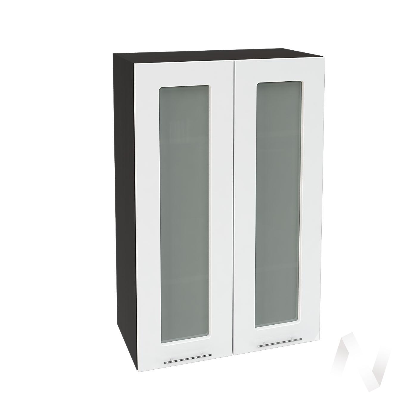 """Кухня """"Валерия-М"""": Шкаф верхний со стеклом 609, ШВС 609 (белый глянец/корпус венге)"""