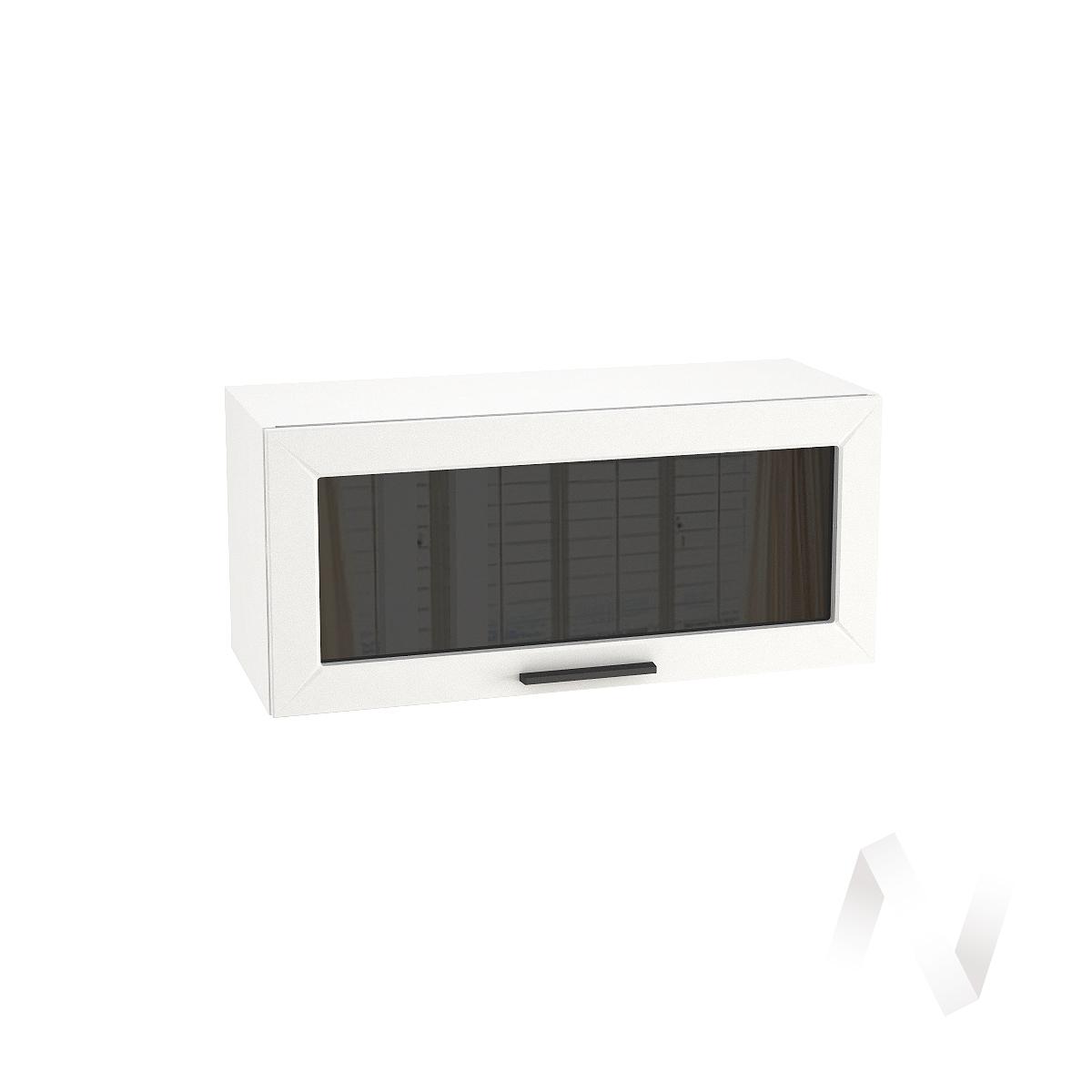 """Кухня """"Глетчер"""": Шкаф верхний горизонтальный со стеклом 800, ШВГС 800 (Айленд силк/корпус белый)"""