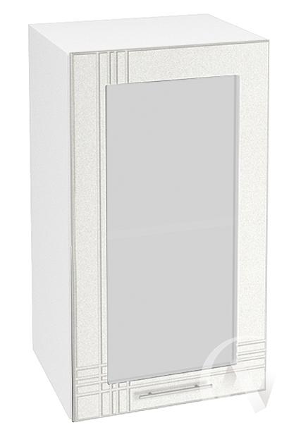"""Кухня """"Струна"""": Шкаф верхний со стеклом 400, ШВС 400 (белый металлик/корпус белый)"""