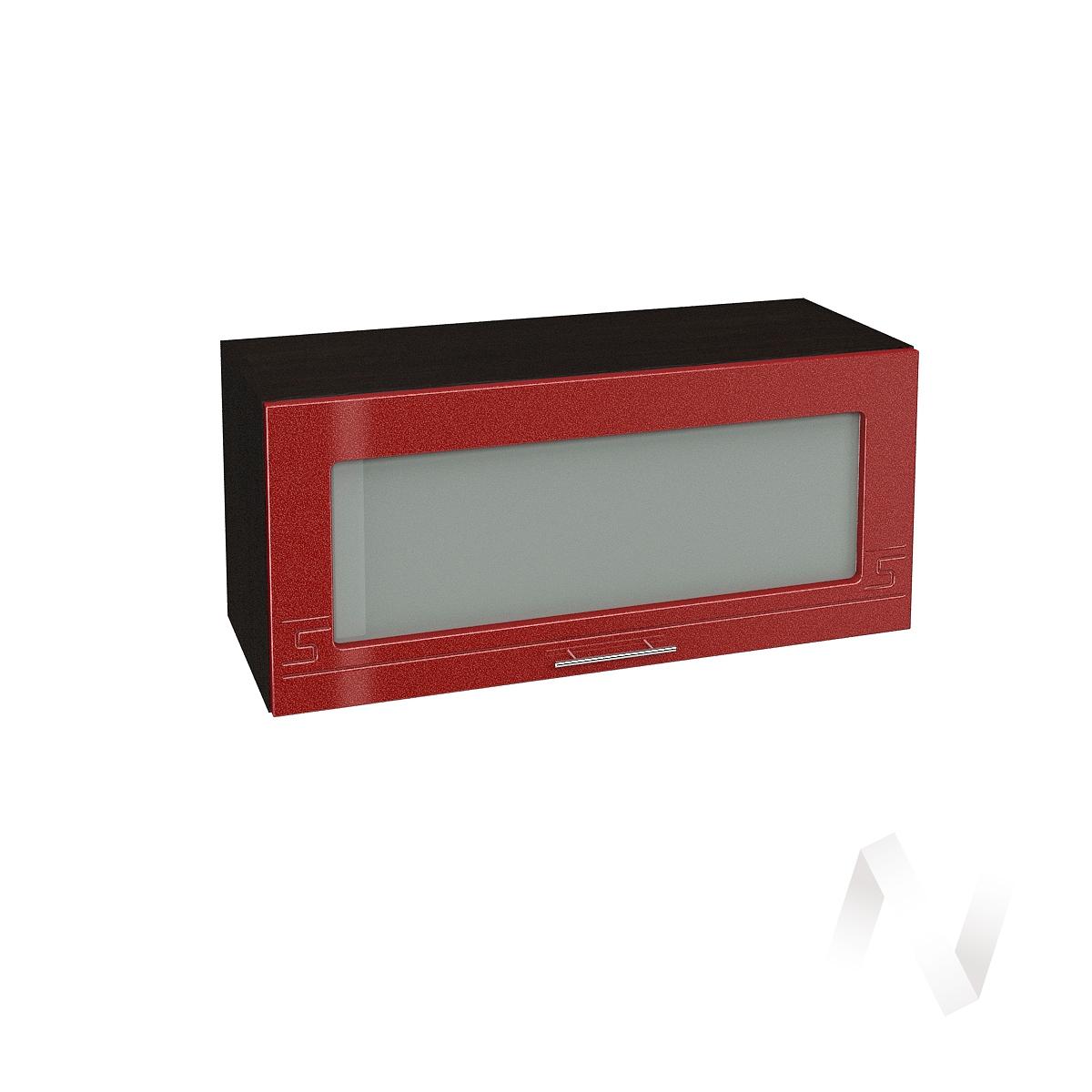 """Кухня """"Греция"""": Шкаф верхний горизонтальный со стеклом 800, ШВГС 800 (гранат. металлик/корпус венге)"""