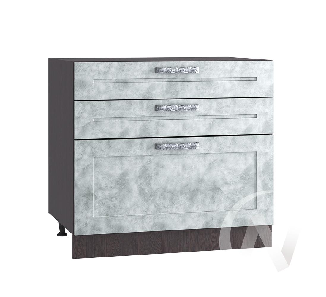 "Кухня ""Лофт"": Шкаф нижний с 3-мя ящиками 800, ШН3Я 800 (Бетон серый/корпус венге)"