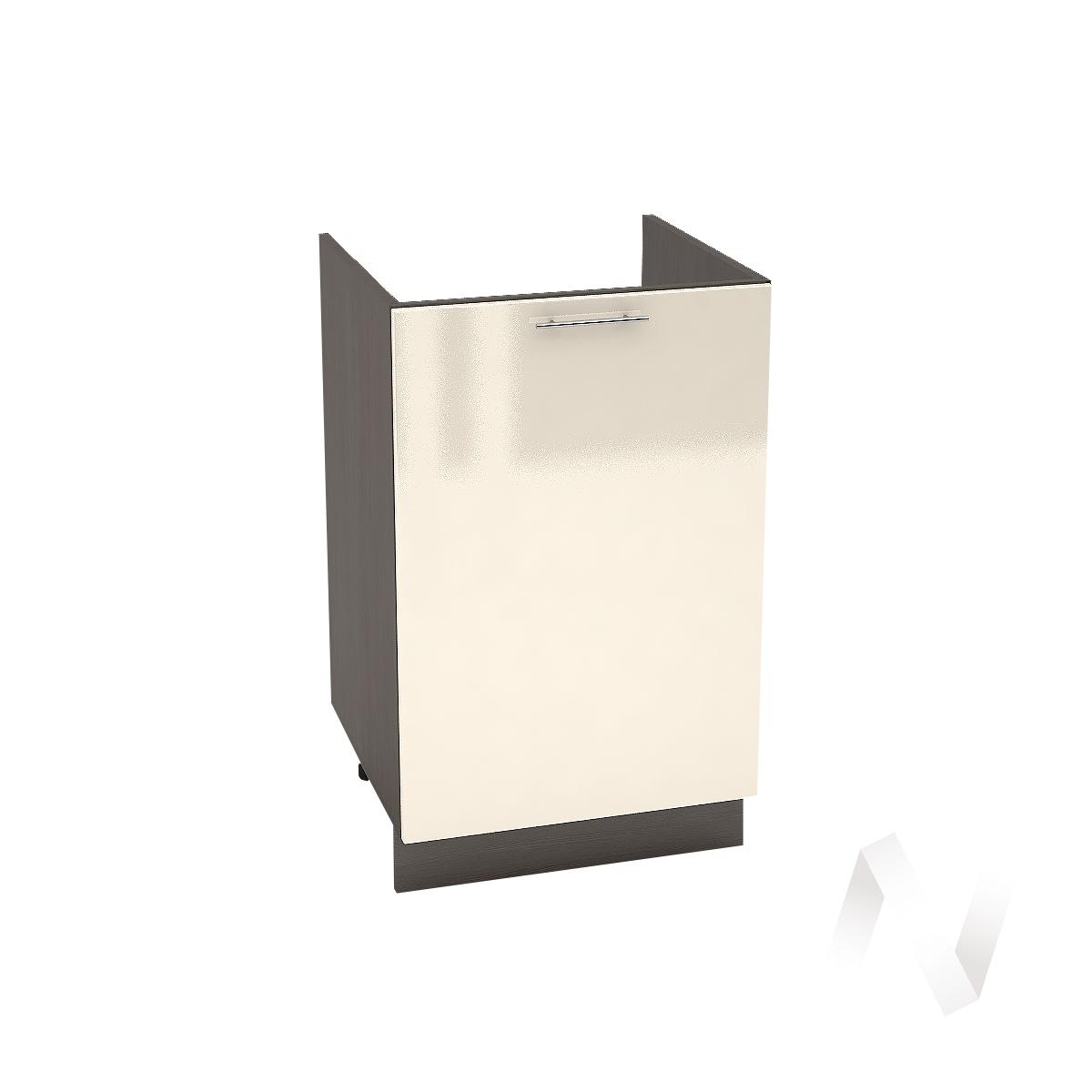 "Кухня ""Валерия-М"": Шкаф нижний под мойку 500, ШНМ 500 (Ваниль глянец/корпус венге)"