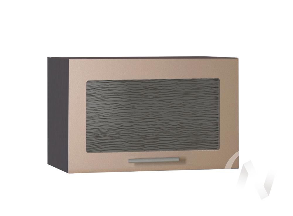 """Кухня """"Люкс"""": Шкаф верхний горизонтальный со стеклом 500, ШВГС 500 (Шоколад матовый/корпус венге)"""