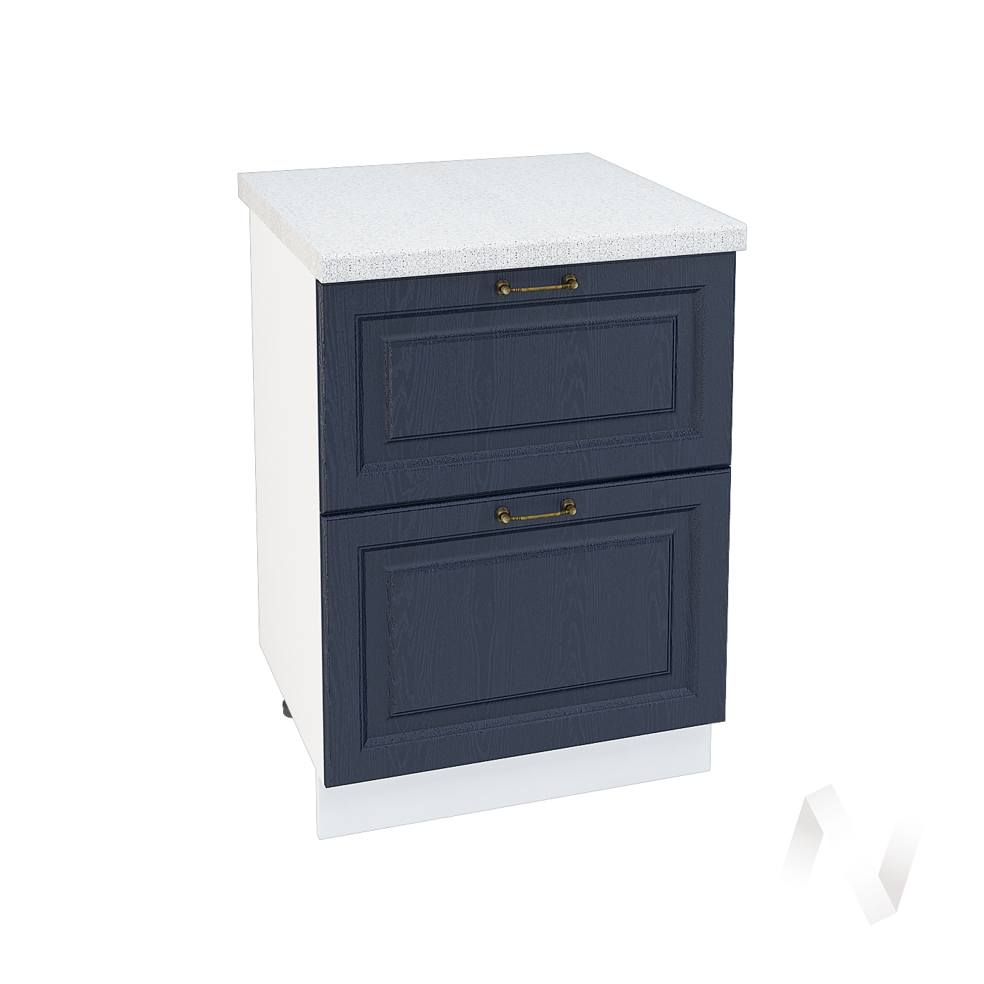 """Кухня """"Ницца"""": Шкаф нижний с 2-мя ящиками 600, ШН2Я 600 (Дуб чернильный/корпус белый)"""