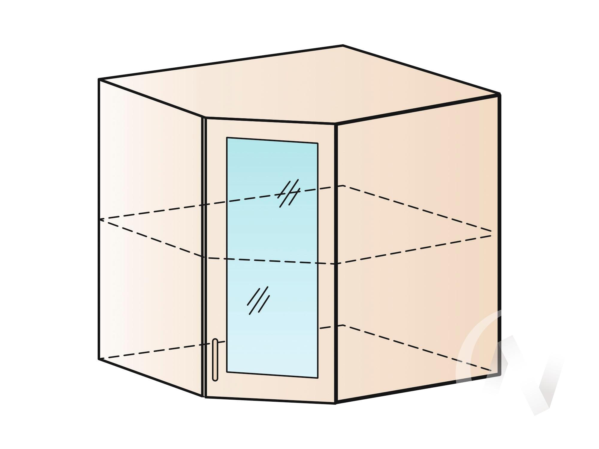 """Кухня """"Струна"""": Шкаф верхний угловой со стеклом 590, ШВУС 590 (белый металлик/корпус венге) в Новосибирске в интернет-магазине мебели kuhnya54.ru"""