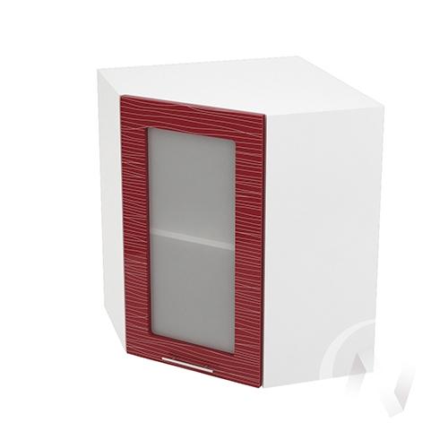 """Кухня """"Валерия-М"""": Шкаф верхний угловой со стеклом 590, ШВУС 590 (Страйп красный/корпус белый)"""