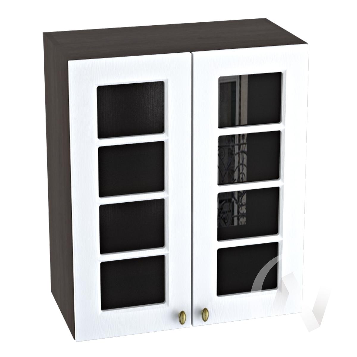 """Кухня """"Прованс"""": Шкаф верхний со стеклом 600, ШВС 600 (белое дерево/корпус венге)"""