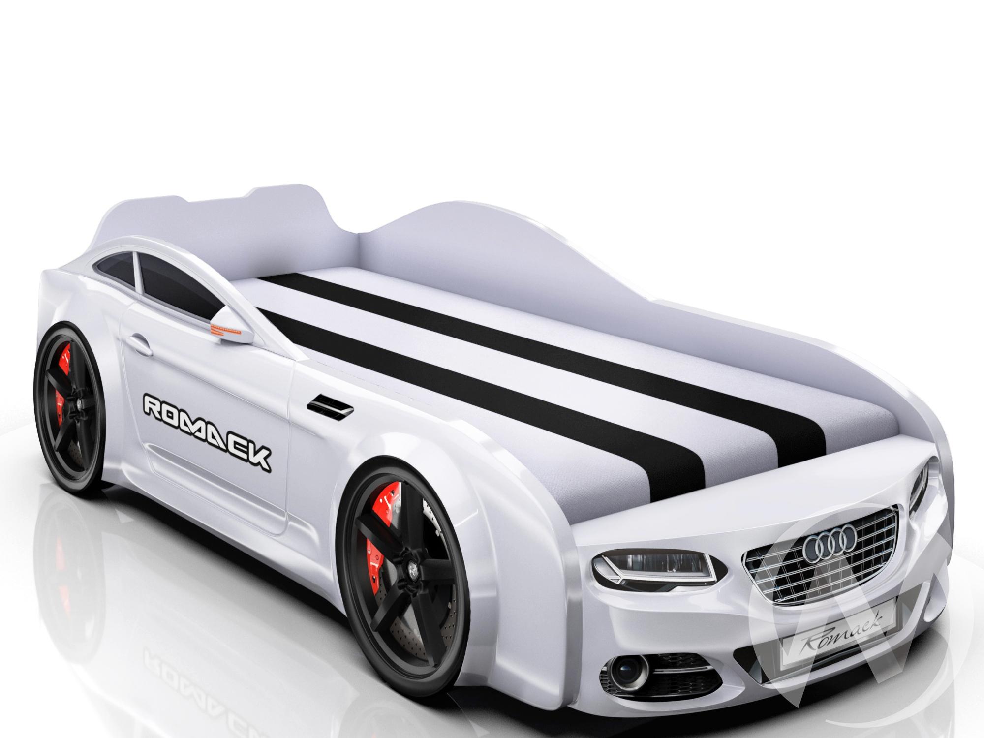 Кровать машинка Real-M с ящиком и фирменными полосками (белая Ауди)  в Томске — интернет магазин МИРА-мебель