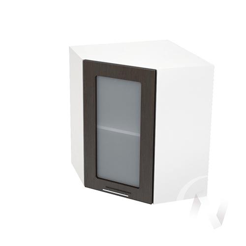 """Кухня """"Валерия-М"""": Шкаф верхний угловой со стеклом 590, ШВУС 590 (венге/корпус белый)"""