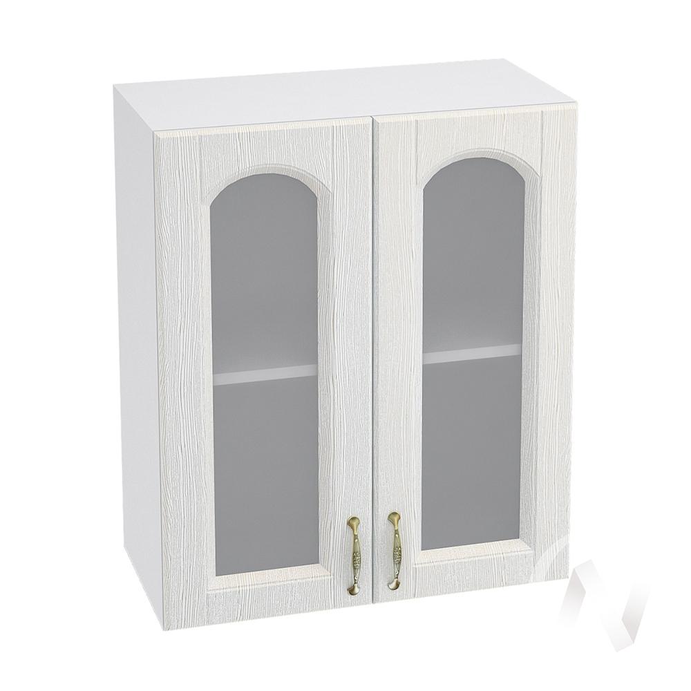 """Кухня """"Верона"""": Шкаф верхний со стеклом 600, ШВС 600 (ясень золотистый/корпус белый)"""