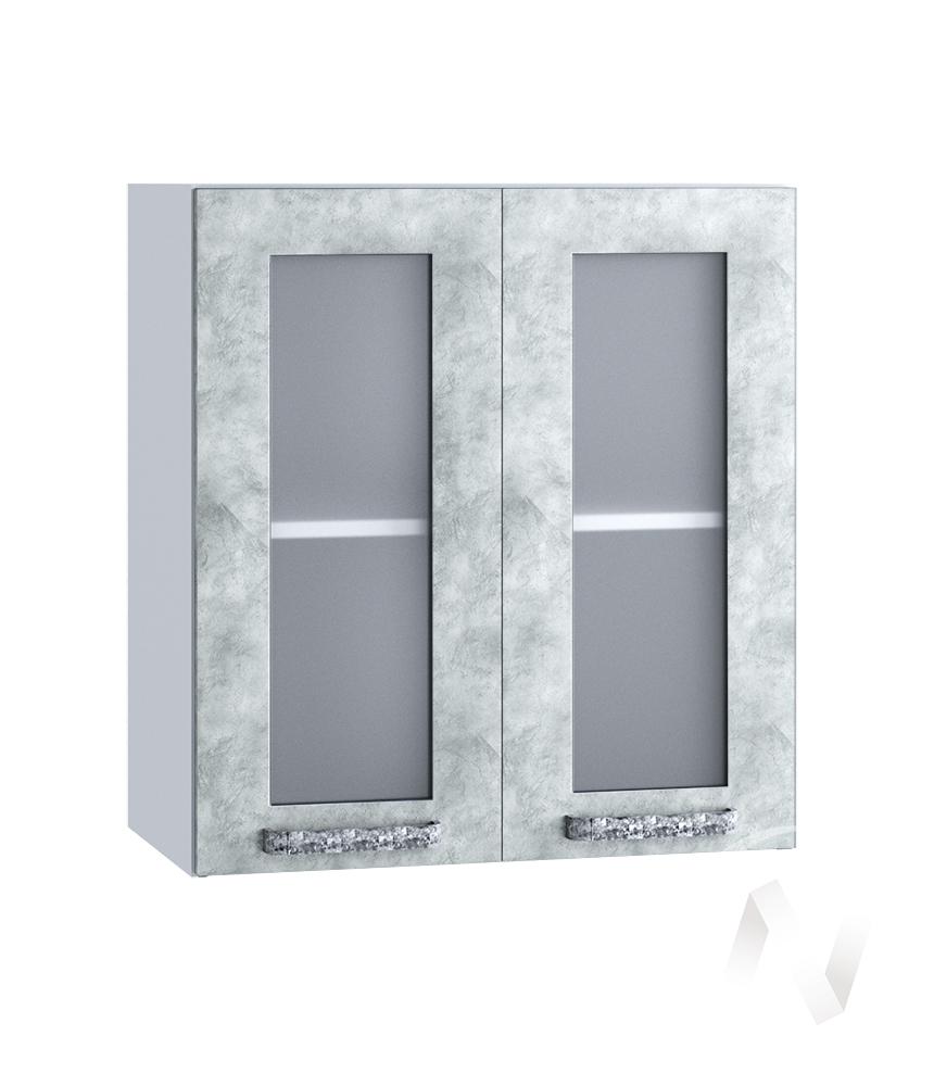 "Кухня ""Лофт"": Шкаф верхний со стеклом 600, ШВС 600 (Бетон серый/корпус белый)"