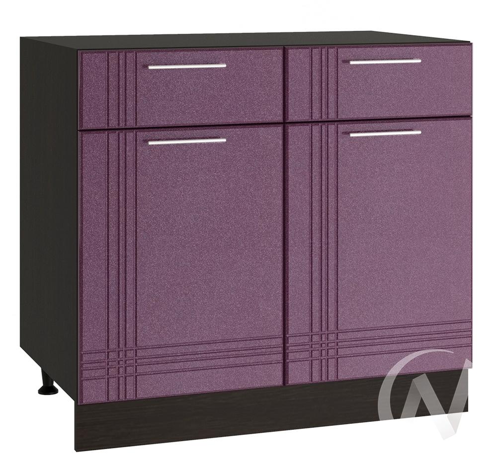 """Кухня """"Струна"""": Шкаф нижний с ящиками 800, ШН1Я 800 (фиолетовый металлик/корпус венге)"""