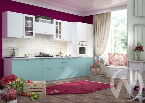 """Кухня """"Прованс"""": Белое дерево/голубой (корпус белый)"""