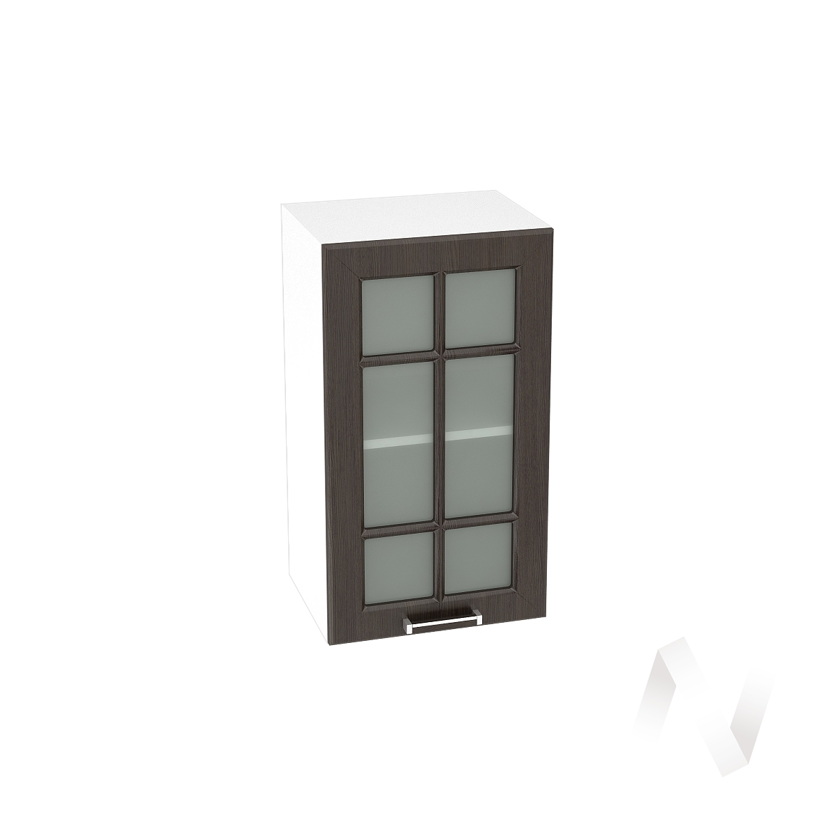 """Кухня """"Прага"""": Шкаф верхний со стеклом 400, ШВС 400 (венге/корпус белый)"""