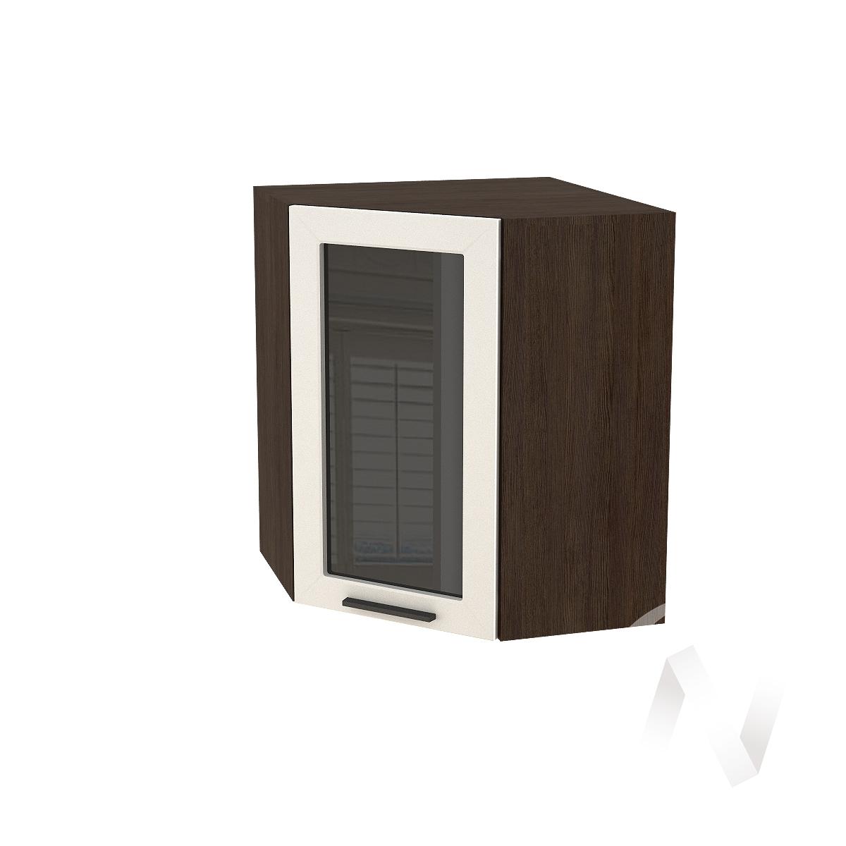 """Кухня """"Глетчер"""": Шкаф верхний угловой со стеклом 590, ШВУС 590 (Айленд силк/корпус венге)"""