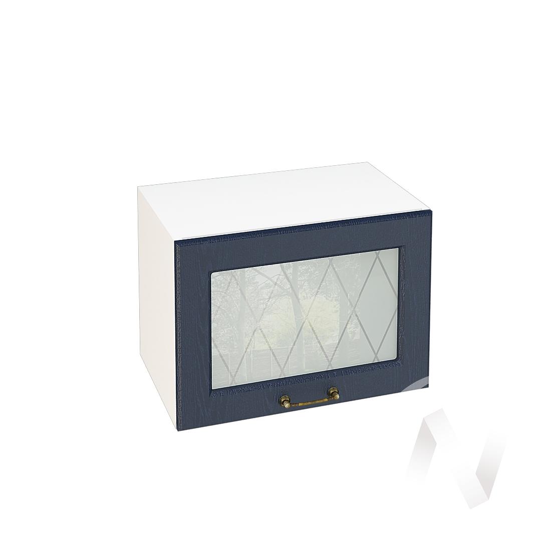 """Кухня """"Ницца"""": Шкаф верхний горизонтальный со стеклом 500, ШВГС 500 (Дуб чернильный/корпус белый)"""