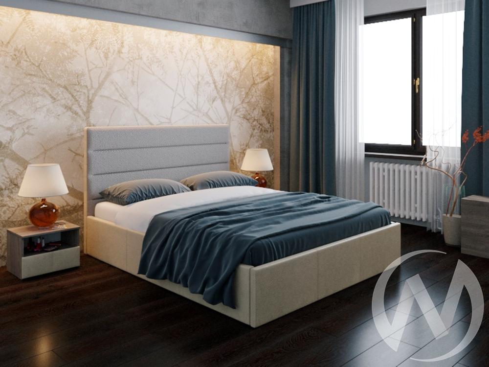 Кровать Севилья 1,6 с подъемным механизмом (кожзам бежевый/ткань бежевая) недорого в Томске — интернет-магазин авторской мебели Экостиль