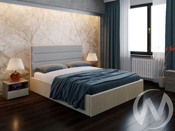 Кровать Севилья 1,6 с подъемным механизмом (кожзам бежевый/ткань бежевая)