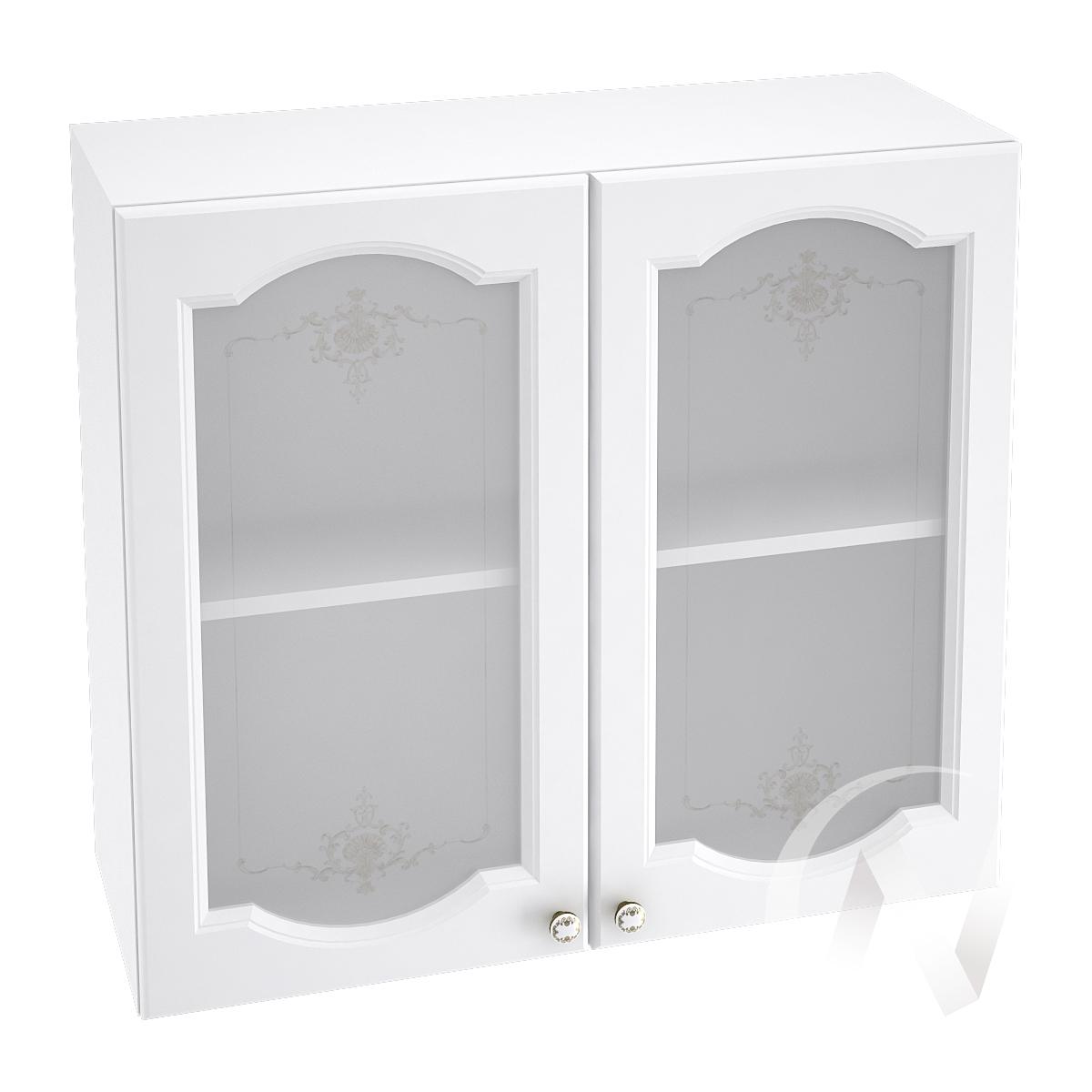 """Кухня """"Шарлиз"""": Шкаф верхний со стеклом 800, ШВС 800 (корпус белый) в Новосибирске в интернет-магазине мебели kuhnya54.ru"""