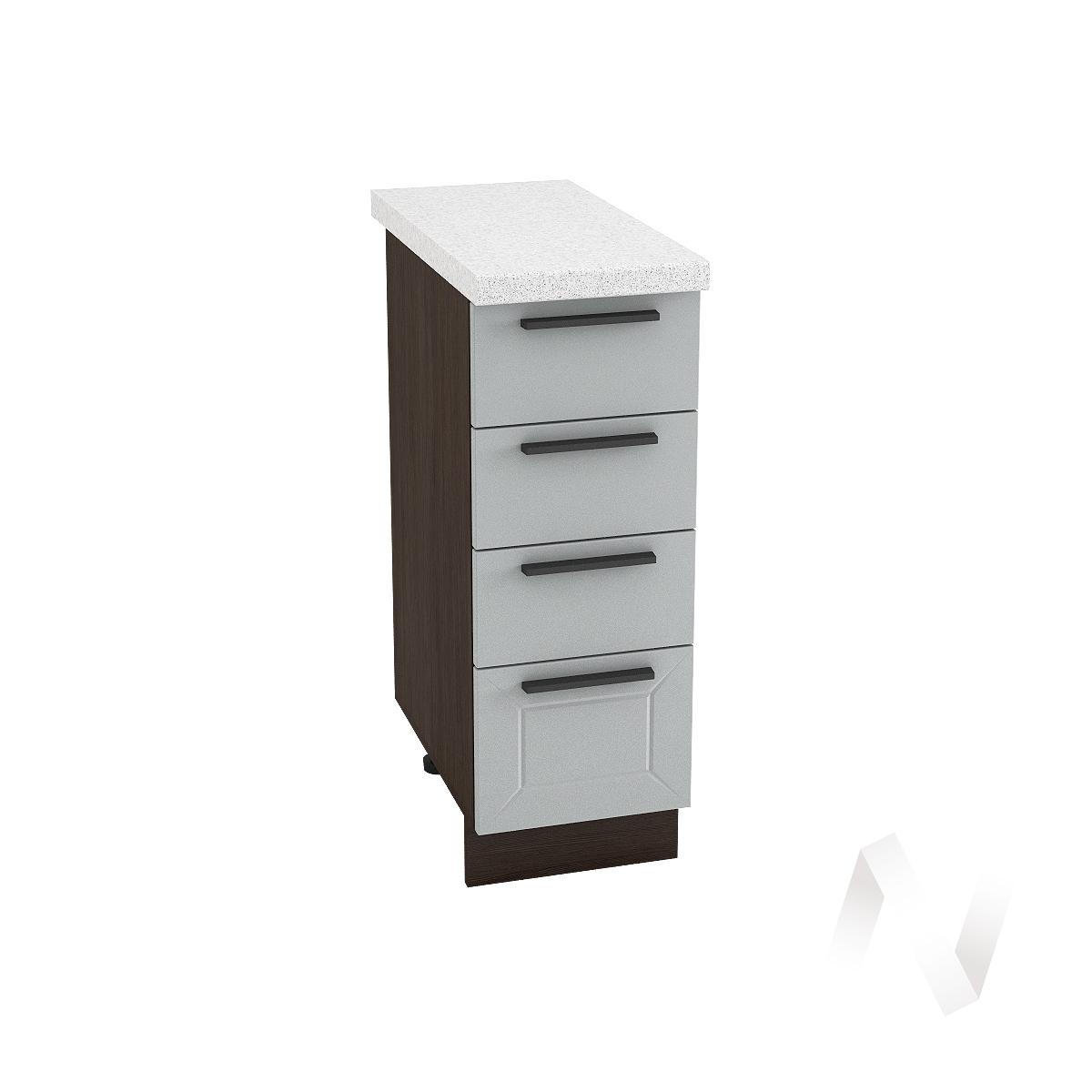 """Кухня """"Глетчер"""": Шкаф нижний с 4-мя ящиками 300, ШН4Я 300 (Гейнсборо Силк/корпус венге)"""