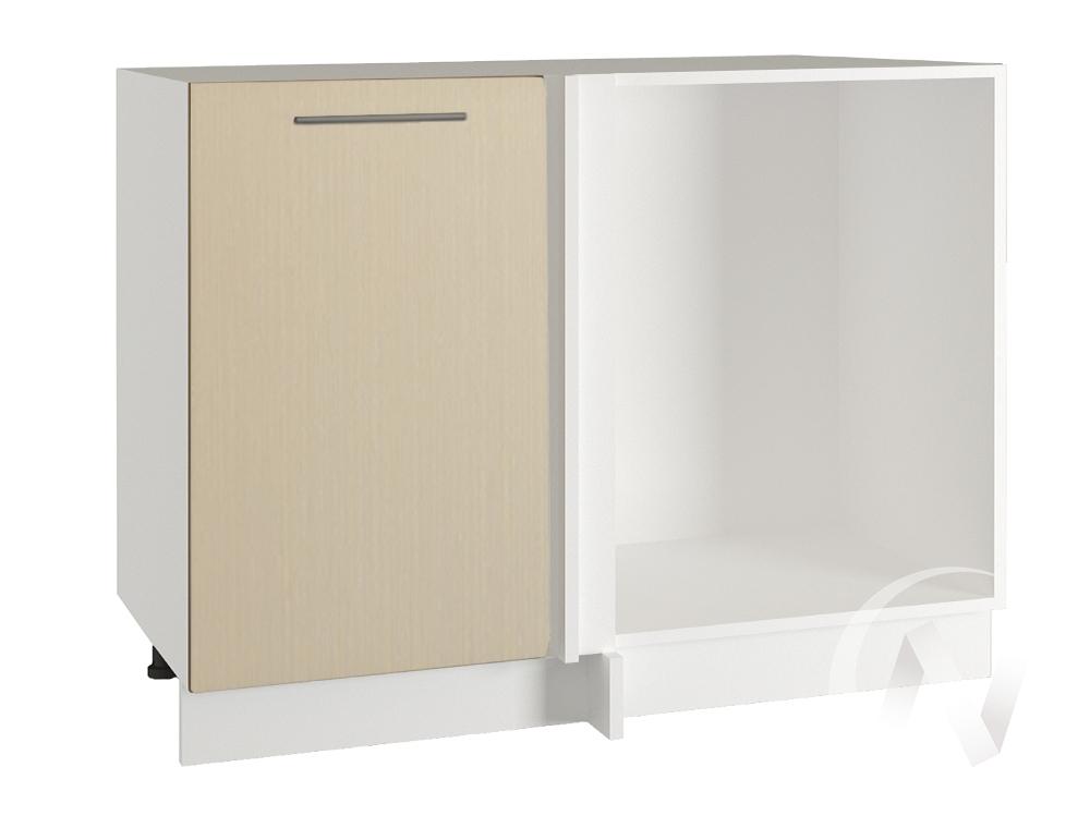 "Кухня ""Люкс"": Шкаф нижний угловой 990, ШНУ 990 (Шелк жемчуг/корпус белый)"