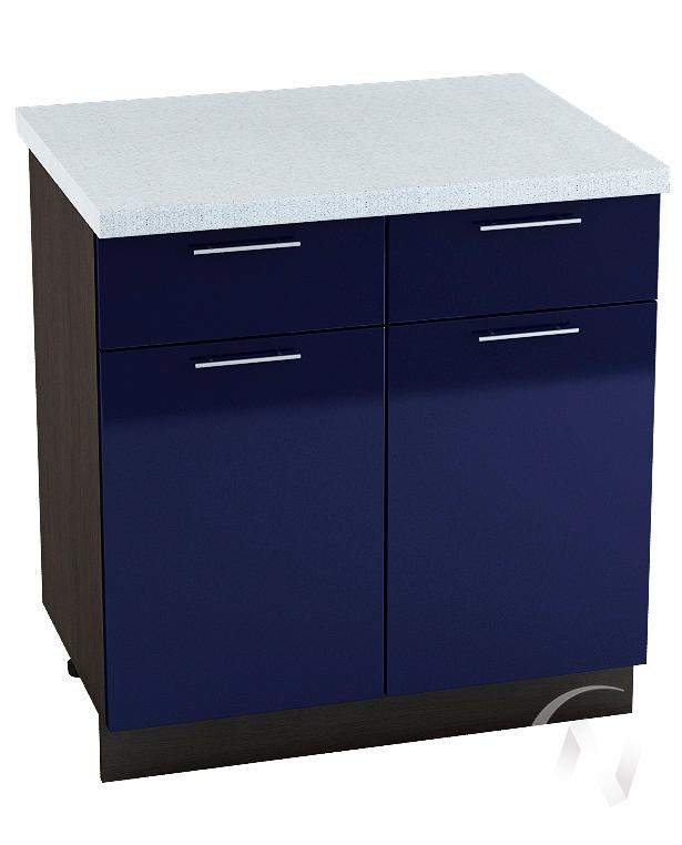 """Кухня """"Валерия-М"""": Шкаф нижний с ящиками 800, ШН1Я 800 (Синий глянец/корпус венге)"""