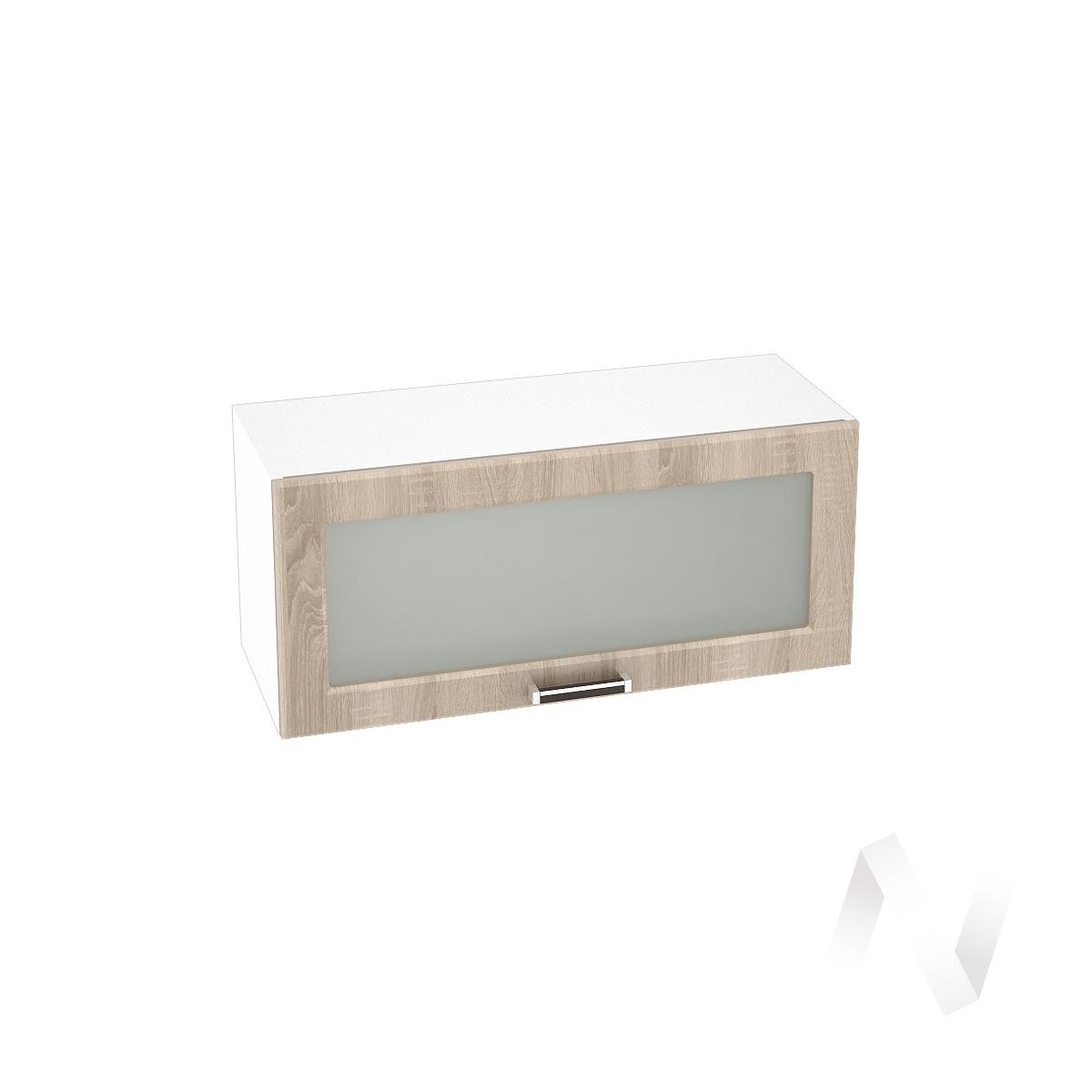 """Кухня """"Прага"""": Шкаф верхний горизонтальный со стеклом 800, ШВГС 800 (дуб сонома/корпус белый)"""