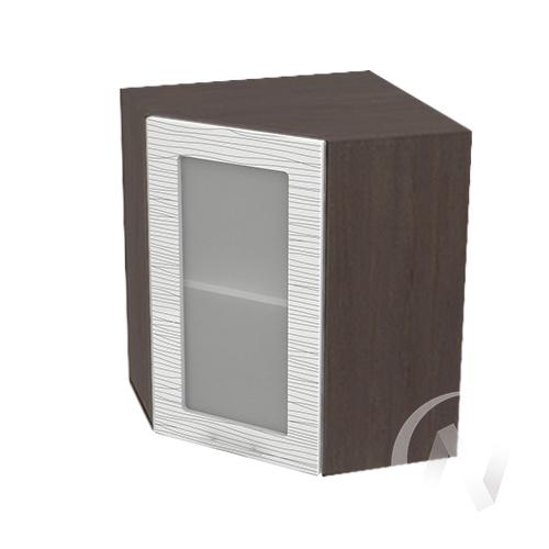 """Кухня """"Валерия-М"""": Шкаф верхний угловой со стеклом 590, ШВУС 590 (Страйп белый/корпус венге)"""