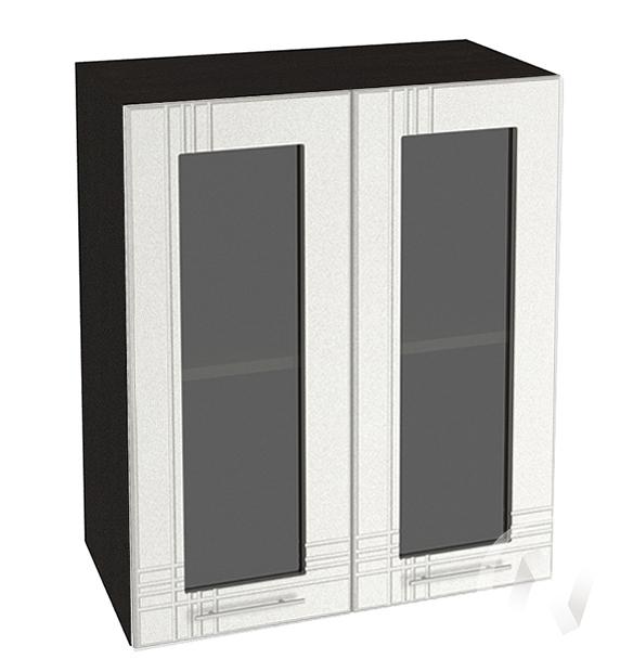 """Кухня """"Струна"""": Шкаф верхний со стеклом 600, ШВС 600 (белый металлик/корпус венге)"""