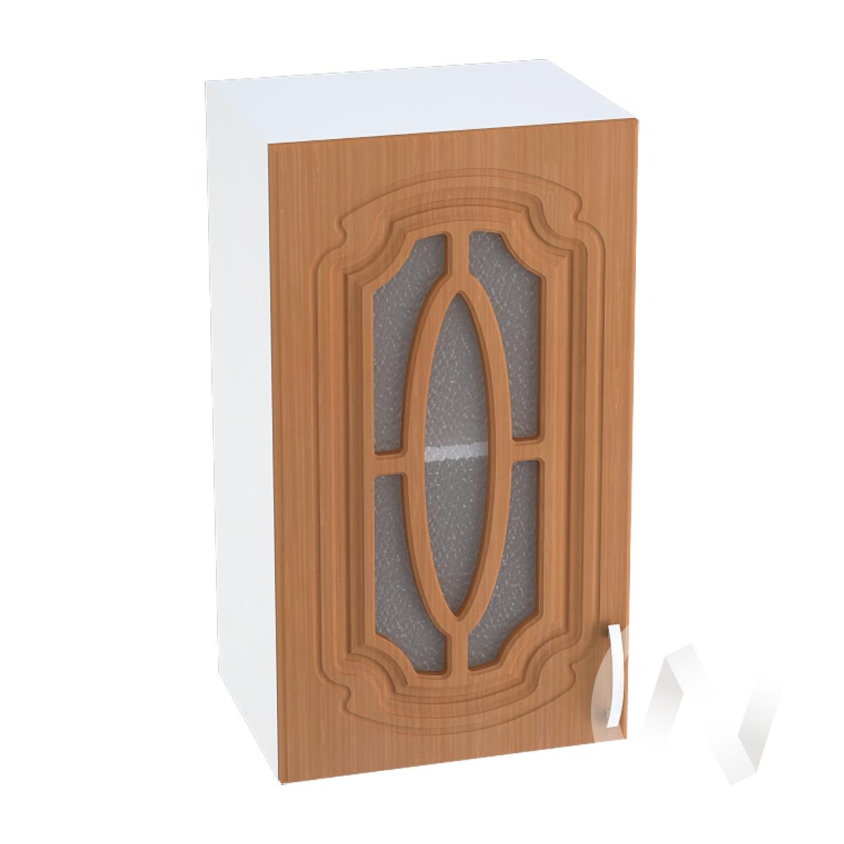 """Кухня """"Настя"""": Шкаф верхний со стеклом 400, ШВС 400 (Орех миланский/корпус белый)"""