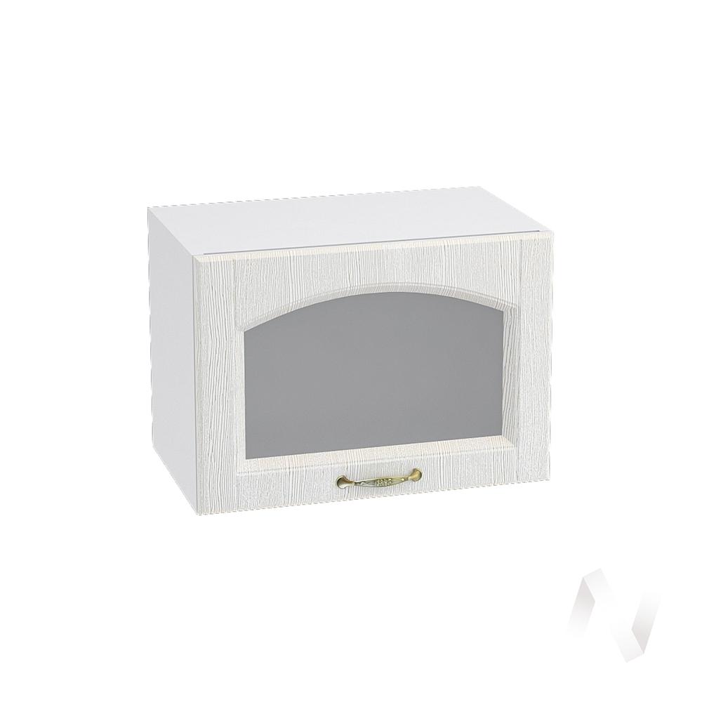 """Кухня """"Верона"""": Шкаф верхний горизонтальный со стеклом 500, ШВГС 500 (ясень золотистый/корпус белый)"""