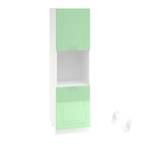 "Кухня ""Вега"": Шкаф пенал 600, ШП 600 (салатовый металлик/корпус белый)"