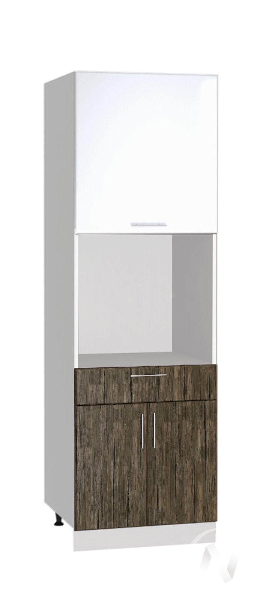 """Кухня """"Норден"""": Шкаф пенал с ящиком 600, ШП1Я 600 (старое дерево/белый глянец/корпус белый)"""