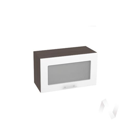 """Кухня """"Валерия-М"""": Шкаф верхний горизонтальный со стеклом 600, ШВГС 600 (белый глянец/корпус венге)"""