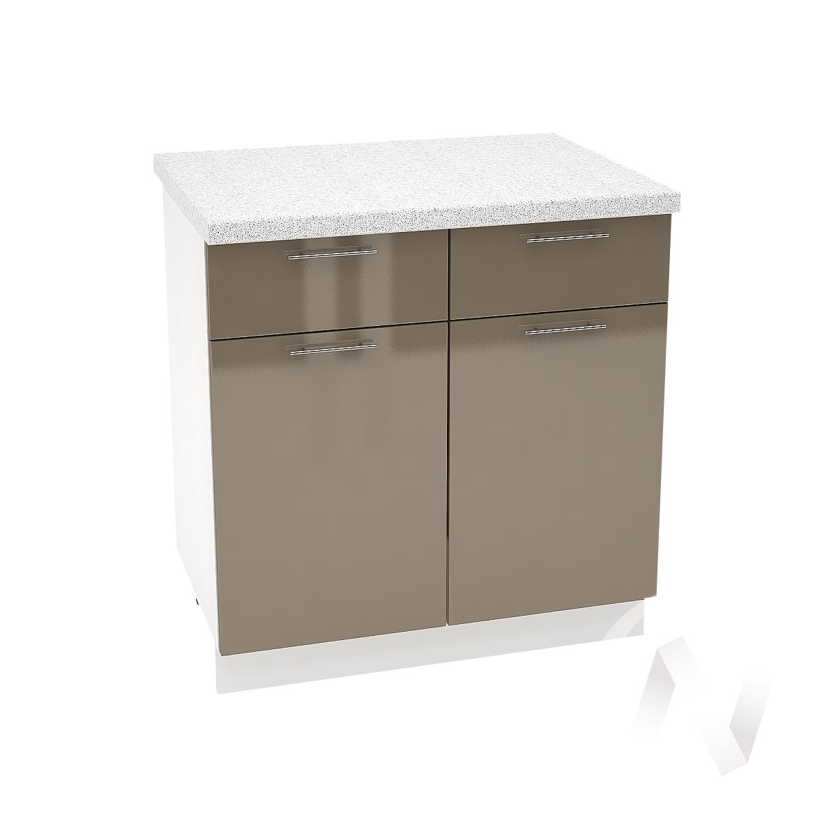 """Кухня """"Валерия-М"""": Шкаф нижний с ящиками 800, ШН1Я 800 (Капучино глянец/корпус белый)"""