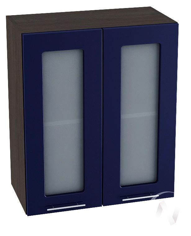 """Кухня """"Валерия-М"""": Шкаф верхний со стеклом 600, ШВС 600 (Синий глянец/корпус венге)"""