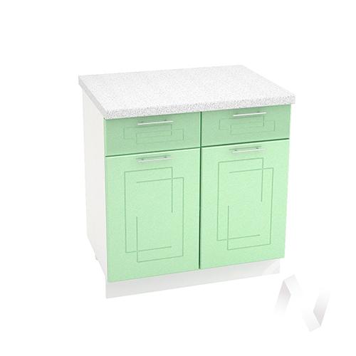 """Кухня """"Вега"""": Шкаф нижний с ящиками 800, ШН1Я 800 (салатовый металлик/корпус белый)"""