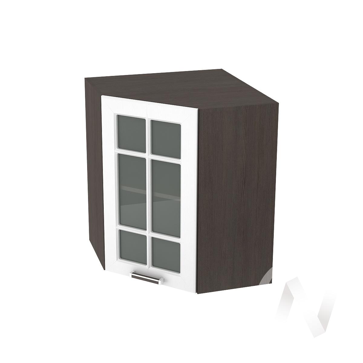 """Кухня """"Прага"""": Шкаф верхний угловой со стеклом 590, ШВУС 590 (белое дерево/корпус венге)"""